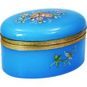 Large blue opaline glass trinket jewelry hinged Box or casket