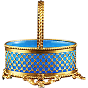 SOLD Antique French Palais Royale blue opaline glass Basket in ormolu mounts
