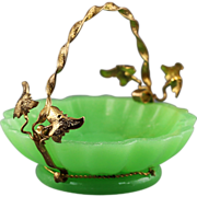SOLD Antique French Palais Royale green opaline glass Basket in gilt ormolu mounts
