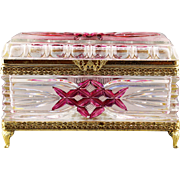 """7"""" Vintage clear cranberry crystal trinket Box or Jewelry casket with hinged lid"""