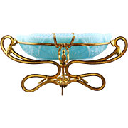 Antique French Empire blue opaline glass Bowl on parcel gilt bronze base