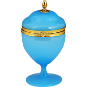 Antique French blue opaline crystal glass Trinket Box Casket hinged lid ormolu