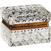 Vintage French clear crystal glass trinket Casket or Box with hinged lid