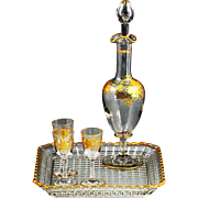 Antique French Crystal Glass Sherry Set, Decanter, Drinking Liquor Glasses, Tray