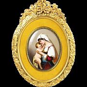 Antique French enamel on porcelain miniature painting, gilded bronze frame