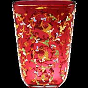 Bohemian Moser cranberry art glass Vase Hand painted raised Enamel Floral design