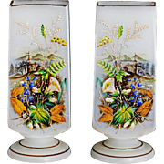 """9.5"""" Antique white Opaline Glass Vases Hand painted pastoral scene"""