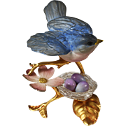 SOLD Vintage French gilt ormolu enameled Bird figurine over nest with eggs - Red Tag Sale Item