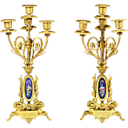 SOLD Pair of 19th century French Empire gilt bronze porcelain 4 light Cadleholders
