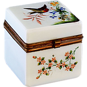 Antique white Opaline glass with enamel hand painted flowers and bird, hinged lid
