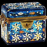 Antique Moser Bohemian blue enameled art glass Casket or box, bronze mounts