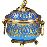 Antique French Palais Royal Blue opaline glass Box or Jar in filigree ormolu