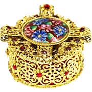 SOLD Antique Austrian jeweled gilt filigree ormolu hinged Jewelry Box  or Casket