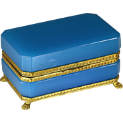 Antique French blue opaline crystal glass jewelry Casket or Trinket hinged Box