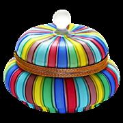 "SOLD 6"" Fratelli Toso Murano Rainbow Colors Filigrana Ribbons Italian Art Glass hinged Bo"