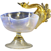 Early 1900' Italy Venitian Murano Salviati Gold Flecked Glass Compote