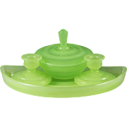 Art Deco French chartreuse opaline glass Vanity set Tray, Powder Box & 2 Candle Holders