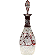 Antique Bohemian Egermann wine-ruby cut to clear crystal Decanter