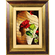 Pioggia di Rose oil on wood panel painting by Alessio & Marcello Bugagiar (The Twins)