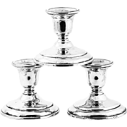 Set of 3 antique weighted sterling silver Candle holders