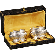 Antique French silver vermeil open salt cellars with spoons in fitted box