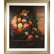 Antique Dutch 18th century oil wood panel Painting Floral still life unsigned
