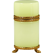 Chartreuse opaline glass Box mounted into ormolu mounts with hinged lid