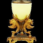 Antique French sculptured gild ormolu & chartreuse opaline glass vase