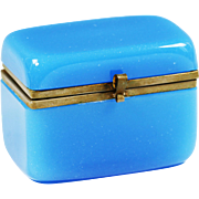 Antique French blue opaline glass jewelry or trinket hinged Box