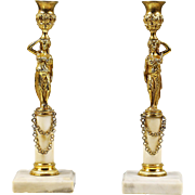 Pair Antique French gilded bronze on marble Candlesticks or Candle Holder