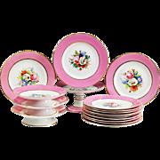 Antique 19thC French Old Paris Porcelain hand painted dessert set Plates Comports