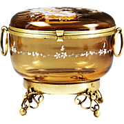 Large antique Victorian era enamelled Amber art glass trinket or jewelry Box with hinged lid