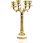 Antique French Empire gilt bronze 4 light candelabra candle holder