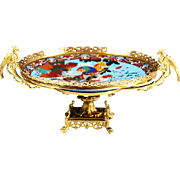 Antique French Chinoiserie gilt bronze Compote Center piece cloisonne champleve