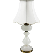 Vintage Warren Kessler White Opaline Glass Table Lamp Hollywood Regency