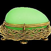 Antique French green opaline glass Egg Box Palais Royal Grand Tour souvener