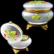 Satin enameled art glass Trinket Box or Powder Jar with Hinged Lid