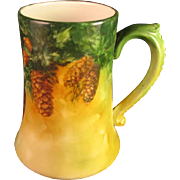 "Limoges Hand Painted Porcelain ""Pinecone"" Tankard Stein Mug"