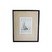 """SOLD Original Artist Proof Marine Ship Etching by C. J. A. Wilson, titled, """"Gloucesterman"""