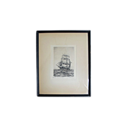 """SOLD Original Artist Proof Marine Ship Etching by C. J. A. Wilson, titled, """"Chas. W. Morg"""