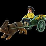 Antique German Easter Rabbit Nodder pulling Cart with Bisque Rider ca1910