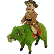 Antique German Paper Mache Pig Candy Container with Irishman Rider ca1910