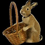 Antique German Easter Bunny/Rabbit Nodder with Original Basket ca1910