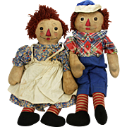 Vintage Georgene Raggedy Ann and Andy Dolls with Black Outline Noses ca1930