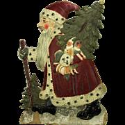 Large Vintage German Painted Molded Cardboard Santa Display ca1920