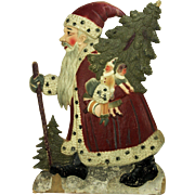 Large Vintage German Painted Molded Cardboard Santa Display ca1920