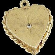 14K Yellow Gold Heart Shaped Locket Pendant With Diamond