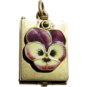 Magnifying Glass Spring Loaded Enamel Pansy Antique Victorian Locket Pendant
