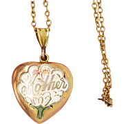 "9ct B&F Enamel ""Mother"" Heart Antique Art Nouveau Locket Pendant"