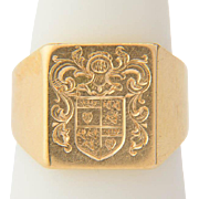 Vintage family crest signet ring 18 k yellow gold